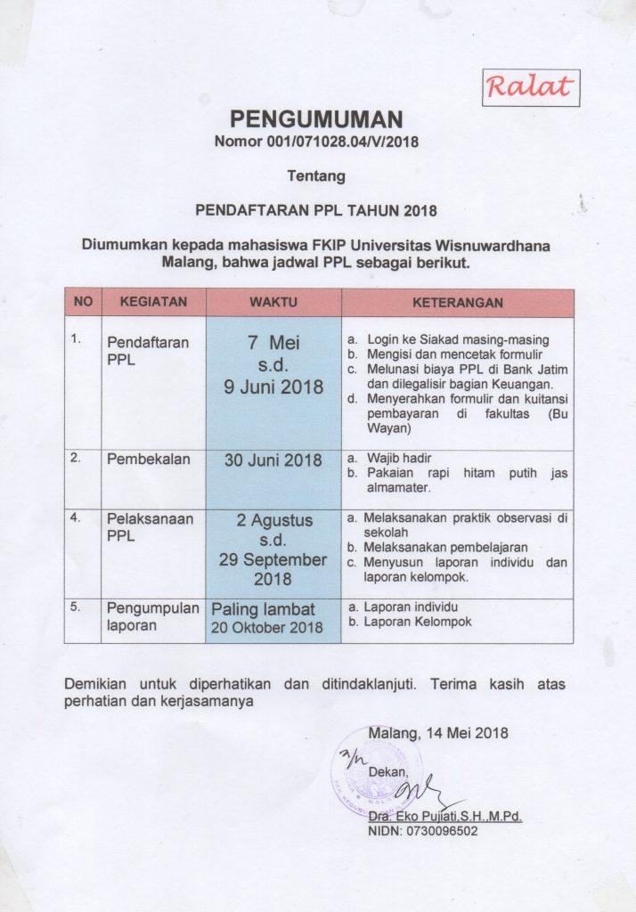 [Revisi] PENDAFTARAN PPL TAHUN 2018